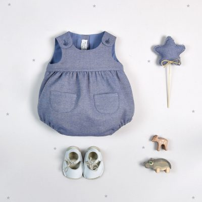 """Tom"" Blue chiffon-denim dungarees"