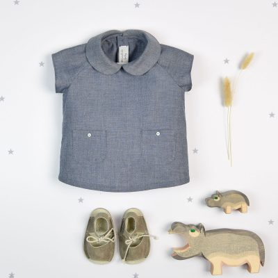 Denim cotton shirt with short sleeves  - Letilusila Baby