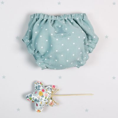 Green-blue cotton knickers with white stars