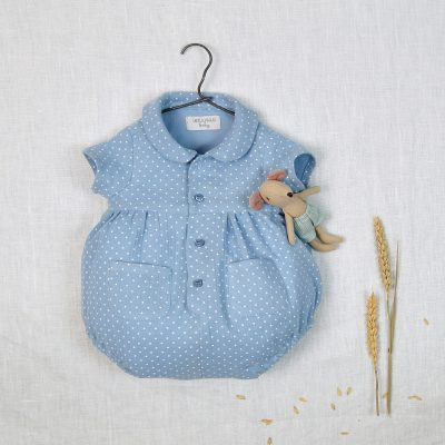 Cotton chiffon blue babygrow with white burls