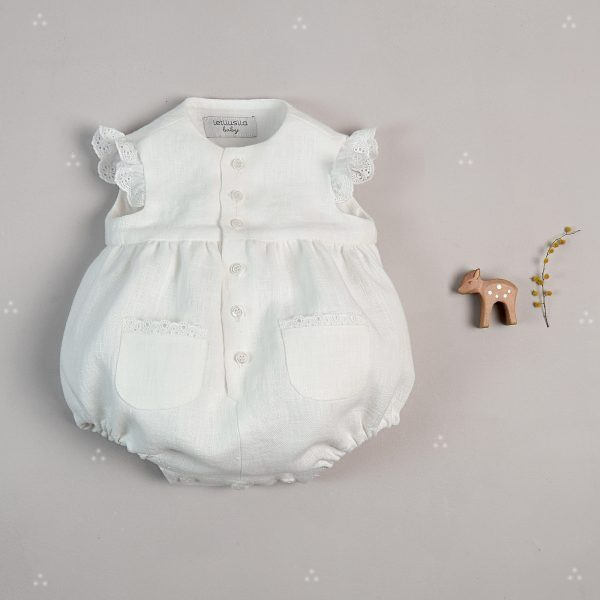 """Lace"" White linen babygrow"
