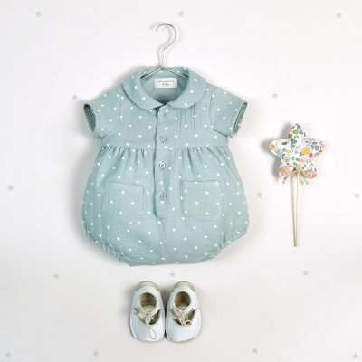 Green, chiffon babygrow with white stars