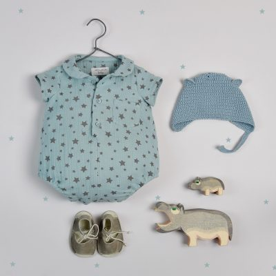 Green cotton chiffon babygrow with grey stars