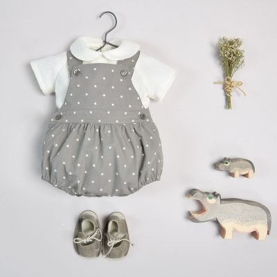 Grey mole cotton dungarees with cream coloured stars