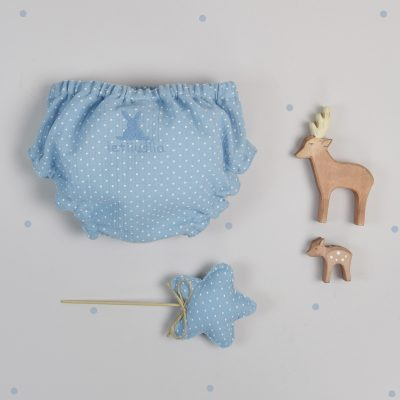 Blue chiffon knickers with white burls