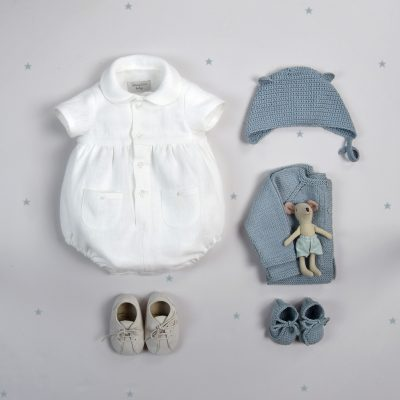 Linen babygrow with sleeves
