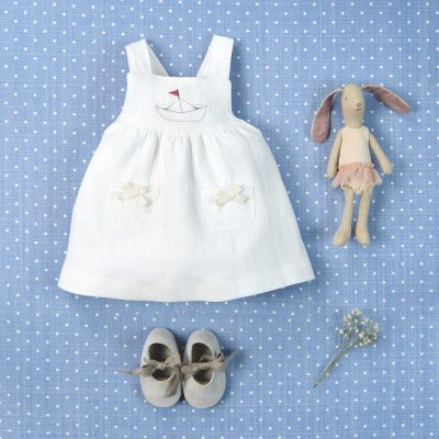 """Barquito"" dress.... It includes same fabric knickers lined in voile cream colou"